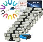 M & C Color Pro  Anti kern & cilindertrek cilinder 32/32 set van 10 stuks skg***  gelijksluitend incl. 10 color Pro sleutels.