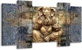 Schilderij | Canvas Schilderij Beeld | Grijs, Goud | 120x65cm 5Luik | Foto print op Canvas