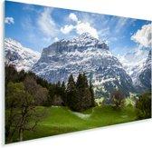 De Zwitserse Jungfrau bij de Eiger Plexiglas 90x60 cm - Foto print op Glas (Plexiglas wanddecoratie)