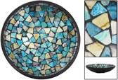 Mozaieken Schaal Turquoise/Goud- Zilverkleurig (Medium)