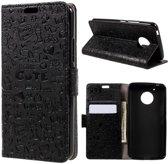 GSMWise - Motorola Moto G5 - PU Lederen Portemonnee hoesje met Kaarthouder Cartoon Design - Zwart