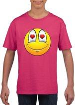 Smiley/ emoticon t-shirt verliefd roze kinderen M (134-140)