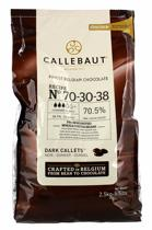 Callebaut Donkere Chocolade 70,5%, callets, 2,5 kg