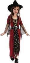 Goudkleurig en rood heksenkostuum voor meisjes - Verkleedkleding