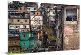 De Favela's in Rio de Janeiro Aluminium 90x60 cm - Foto print op Aluminium (metaal wanddecoratie)