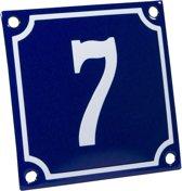 Emaille huisnummer blauw/wit nr. 7 10x10cm