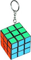 Kleurenkubus puzzeltje aan sleutelhanger 3 cm