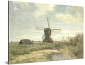 'Zonnige dag': een molen aan een wetering - Schilderij van Paul Joseph Constantin Gabriël Aluminium 80x60 cm - Foto print op Aluminium (metaal wanddecoratie)
