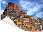 Gele huizen van Cappadocië Turkije Tuinposter 160x120 cm - Tuindoek / Buitencanvas / Schilderijen voor buiten (tuin decoratie) XXL / Groot formaat!
