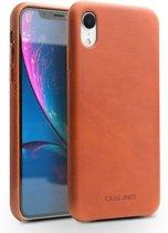 Leren Hardcase - Iphone XR Hoesje - Bruin - Qualino