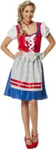 Dirndl jurk rood/blauw voor dame