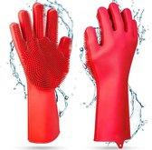 Magic Cleaning Gloves Siliconen Schoonmaak Handschoenen met Ingebouwde Borstels voor afwas, afstoffen, badkamer, auto en keuken, multi-functionele huishoudhandschoen  - Poetshandschoenen - Huishoudaccessoires schoonmaakhandschoenen met spons  Rood