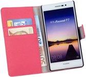 LELYCASE Bookstyle Wallet Case Flip Cover Hoesje Huawei Ascend P7 Roze