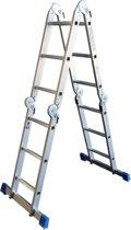 Alumexx Multi Vouwladdertrap - 12 Treeds - Inclusief stabiliteitsbalk - Werkhoogte 4.55m