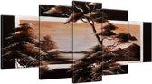 Schilderij handgeschilderd Boom | Bruin | 150x70cm 5Luik