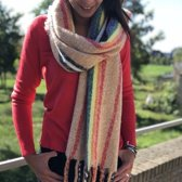 Bohemida - Dames Winter -XL Sjaal Rainbow Beige