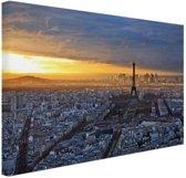 FotoCadeau.nl - Skyline parijs bij zonsondergang Canvas 180x120 cm - Foto print op Canvas schilderij (Wanddecoratie)