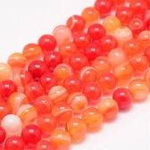 Natuurstenen kralen, rood gemeleerd Agaat, ronde kralen van 4 mm. Verkocht per streng van ca. 38cm (ca. 92 kralen)