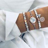 2) Set armbanden marmer love hartje mandala 4 delig - Dames - Goudkleurig - 18 cm - Armband - Tibri