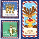 50 Luxe Kerstkaarten - Rudolph the Rednose Reindeer - Dubbele kaarten met enveloppen