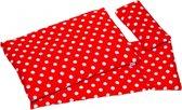 Goki Poppen beddengoed rood met witte stippen