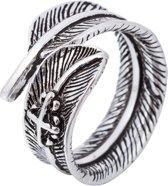 24/7 Jewelry Collection Blad met Kruis Ring Verstelbaar - Verstelbare Ring - Zilverkleurig