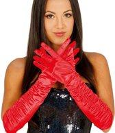 Rode plooi gala handschoenen voor dames