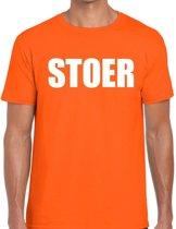 Stoer tekst t-shirt oranje heren S