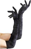 Zwarte lange fluwelen handschoenen voor dames