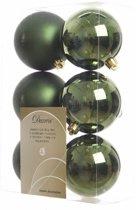 Kerstboom decoratie kerstballen mix groen 6 stuks