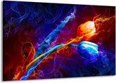 Canvas schilderij Tulp | Blauw, Rood, Oranje | 140x90cm 1Luik