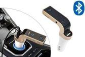 Bluetooth carkit 4-in-1 | Handsfree bellen, fm ontvanger, mp3-speler en oplader in één – goudkleurig