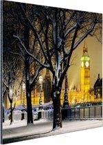 De Big Ben in de winter Aluminium 90x60 cm - Foto print op Aluminium (metaal wanddecoratie)