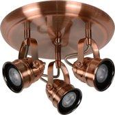 Lucide CIGAL - Plafondspot - Ø 27 cm - LED - GU10 - 3x5W 2700K - Koper