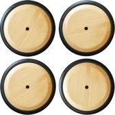 DW4Trading® Massief houten wielen met rubber rand  set van 4 stuks blank