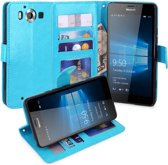 Premium Cyclone cover wallet hoesje Microsoft Lumia 950 blauw