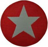Modern vloerkleed rond Ster - rood 140 cm rond
