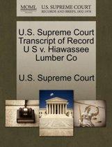 U.S. Supreme Court Transcript of Record U S V. Hiawassee Lumber Co