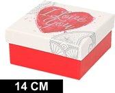 Rood/wit cadeaudoosje met hart 14 cm vierkant