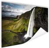 Seljalandsfoss waterval Poster 90x60 cm - Foto print op Poster (wanddecoratie)