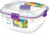 Sistema To Go Salad Max - Saladebox met verdeelschaal, bestek en dressingpotje - 1,63L paars