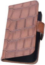 Samsung Galaxy Note 4 N910F Bruin | Glans Croco bookstyle / book case/ wallet case Hoes  | WN™
