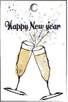 cadeaukaartje champagne glazen - oud en nieuw - nieuwjaar  -  set van 15 happy newyear minikaartjes