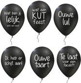 Hork-pakket met 12 verwensballonnen: 2x 'Te laat voor een facelift', 2x 'wat een kut feest', 2x 'Ouwe taart', 2x 'Ouwe lul', 2x 'wat ben jij lelijk - zelfs van veraf', 2x 'ik heb er schijt aan!'