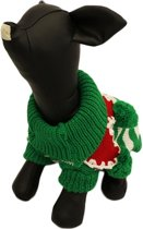 Gebreide kerst trui voor de hond in de kleur groen/wit - M ( rug lengte 32 cm, borst omvang 38 cm, nek omvang 24 cm )