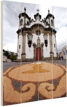 Kerk Brazilie  Hout 20x30 cm - klein - Foto print op Hout (Wanddecoratie)