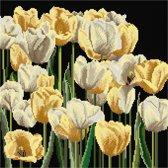 Thea Gouverneur Borduurpakket 3065.05 Tulpen - Aida stof zwart 100% katoen