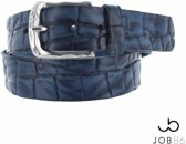 Blauwe vintage kroko riem-maat 90