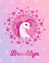 Brooklyn: Unicorn Sheet Music Note Manuscript Notebook Paper - Magical Horse Personalized Letter C Initial Custom First Name Cov
