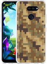 LG K40s Hoesje Pixel Camouflage Brown